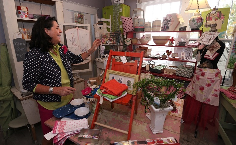 Julie Grady, owner of Due Sorella, works in her eclectic shop in Carson City, Nev., on Friday, Nov. 7, 2014. Photo by Cathleen Allison/Carson City Visitors Bureau